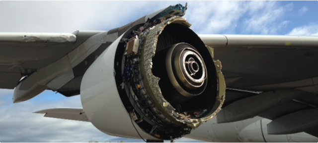 Damaged Airbus A380 engine