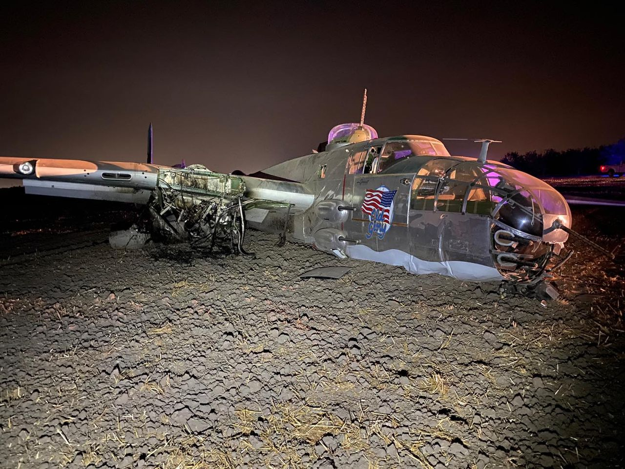 The B-25 flying as Old Glory crashed in California. Photo courtesy of San Joaquin County Sheriff's Office