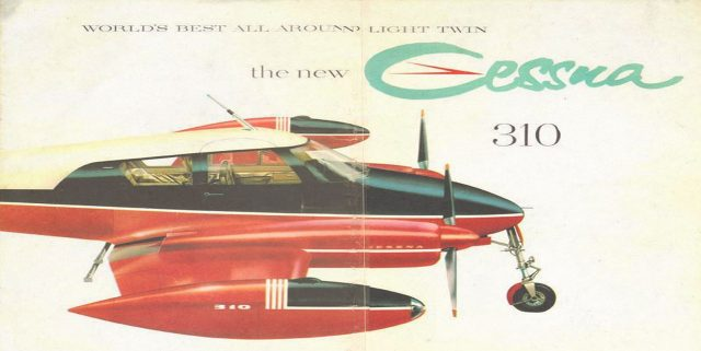A vintage Cessna ad for its Cessna 310, which was the first really modern light twin. Fast and with a good range and payload, the 310 commanded the market for several years before the Beechcraft Baron and Piper Aztec came along.