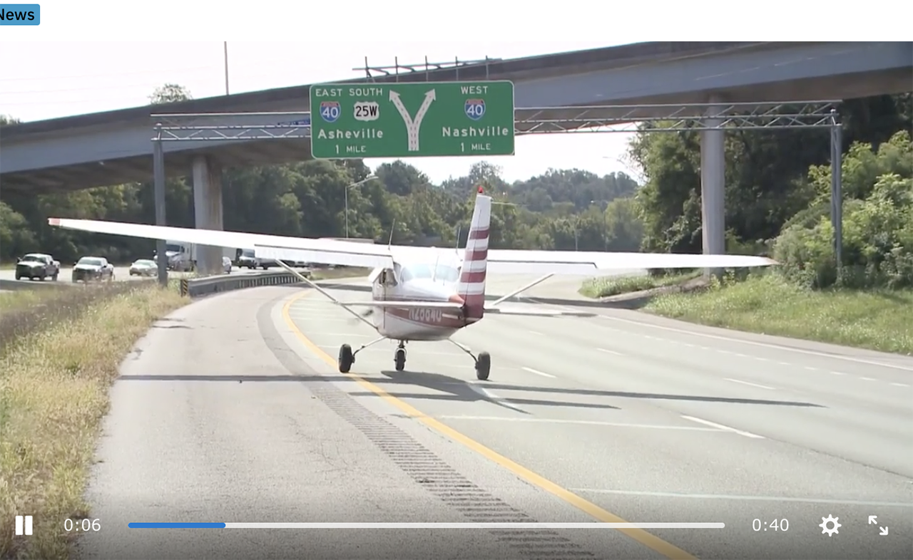 Plane takes off from freeway