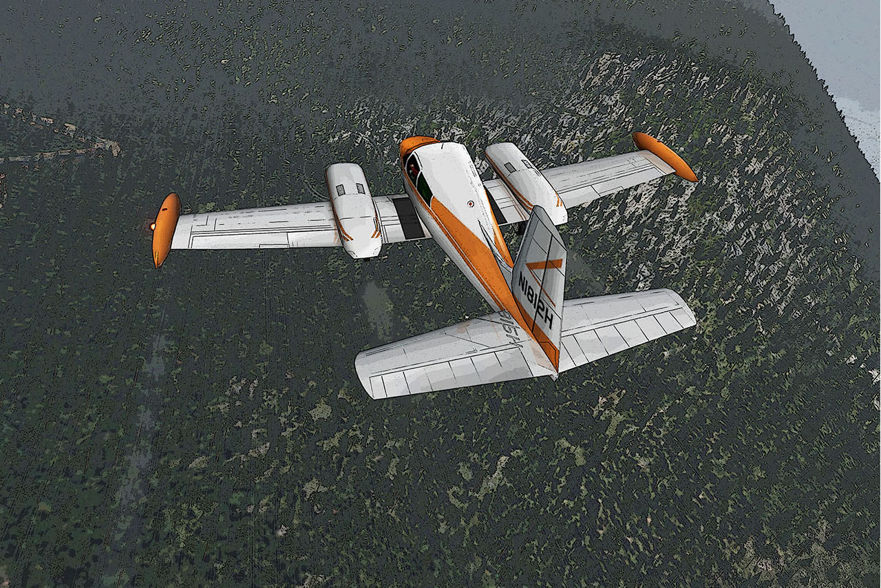A screen capture from a flight simulation game of a early, straight-tail Cessna 310 put together by Ryan Vince and tweaked by digital artist Michael Kline before being modified one last time by the folks at Plane & Pilot. The plane here represents a best-guess depiction of N1812H, a 1959 Cessna 310C that disappeared on a flight from Anchorage to Juneau, Alaska, in 1972 with four aboard, including two U.S. Congressmen, Nick Begich of Alaska and Hale Boggs of Louisiana. Not a single confirmed piece of evidence has ever been found. This is likely what the flight that day looked like, with weather reported to be at least this bad.