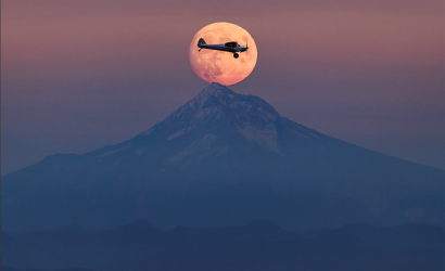 Plane & Pilot Photo Of The Week For October 2, 2020. Framed By The Moon!