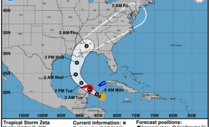 New Tropical Storm Zeta Takes Aim On Gulf Coast
