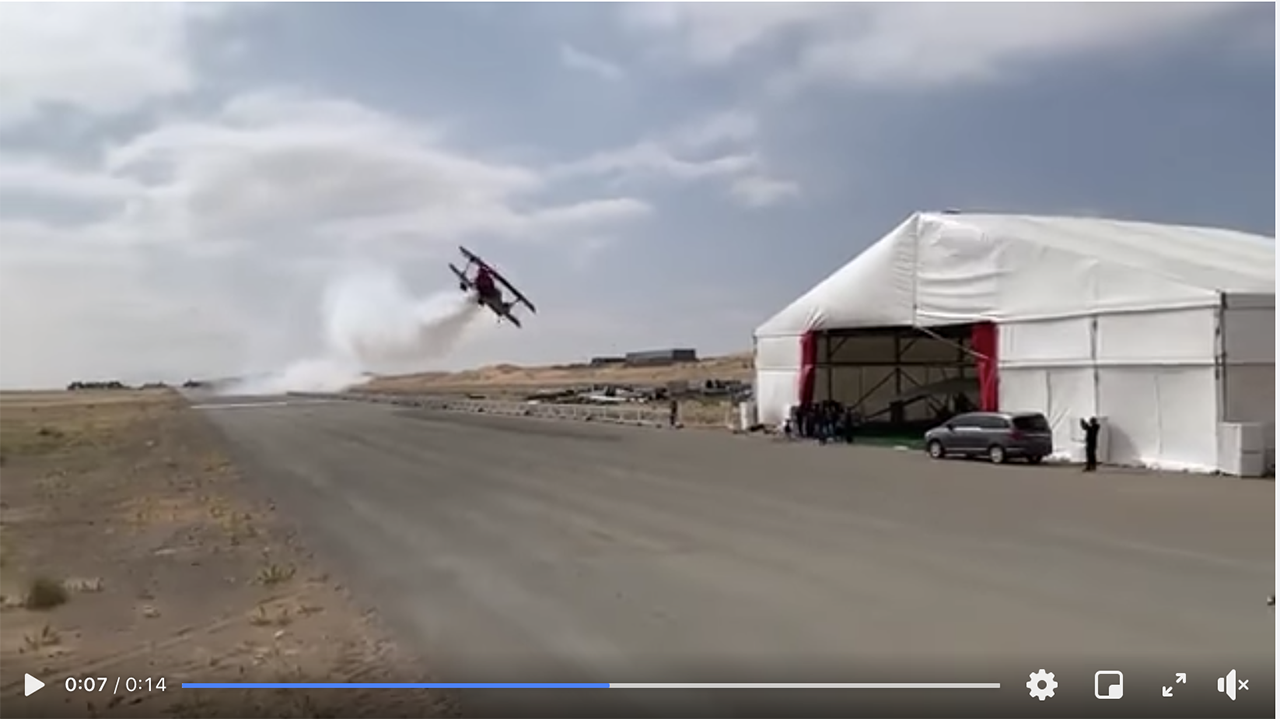 Video shows a pilot make a low pass.