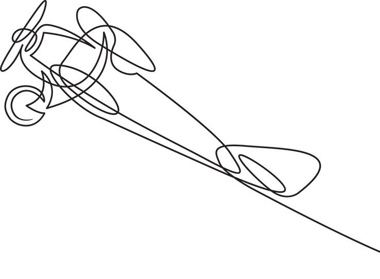 Continuous line drawing of jet plane . Flight biplane Tandem wing. The symbol of take-off in the sky