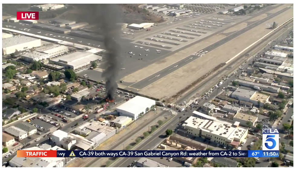A screencapture of news coverage of a plane crash short of Whiteman Airport.