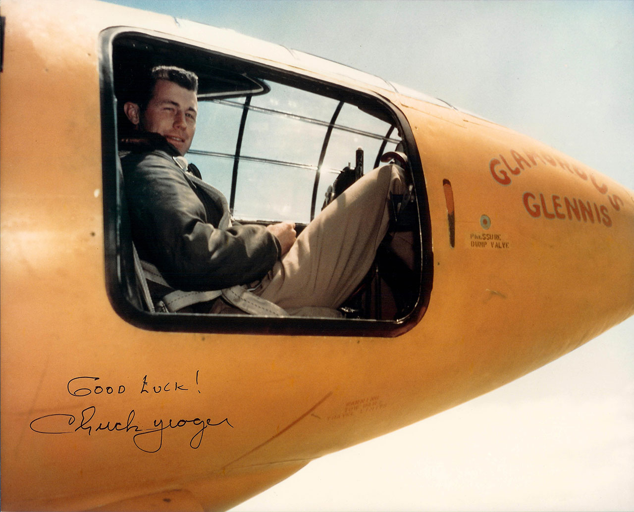 Chuck Yeager in the the Bell X-1 . Courtesy United States Air Force via Wikipedia Commons. Photo by Jack Ridley.