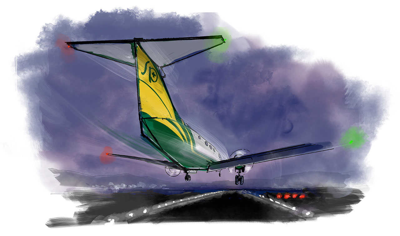 A day in the life of a med flight pilot. Illustration by Gabriel Campanario