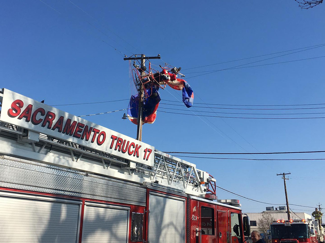 Santa caught in power lines. Photo courtesy of CHP – North Sacramento