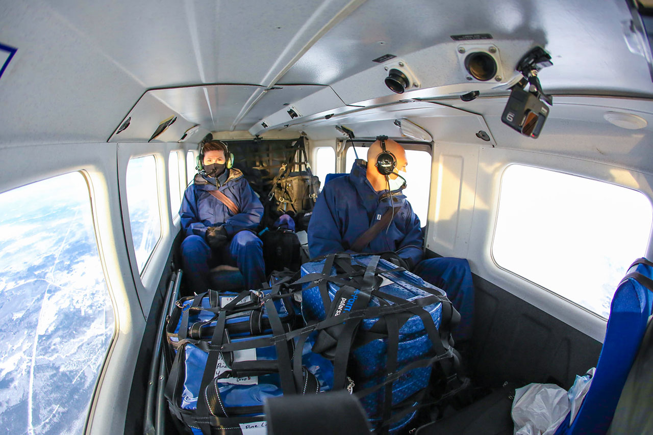 CAP personnel safeguard stores of the vaccine, which need to be kept at extremely low temperatures in cabin of the AirVan.