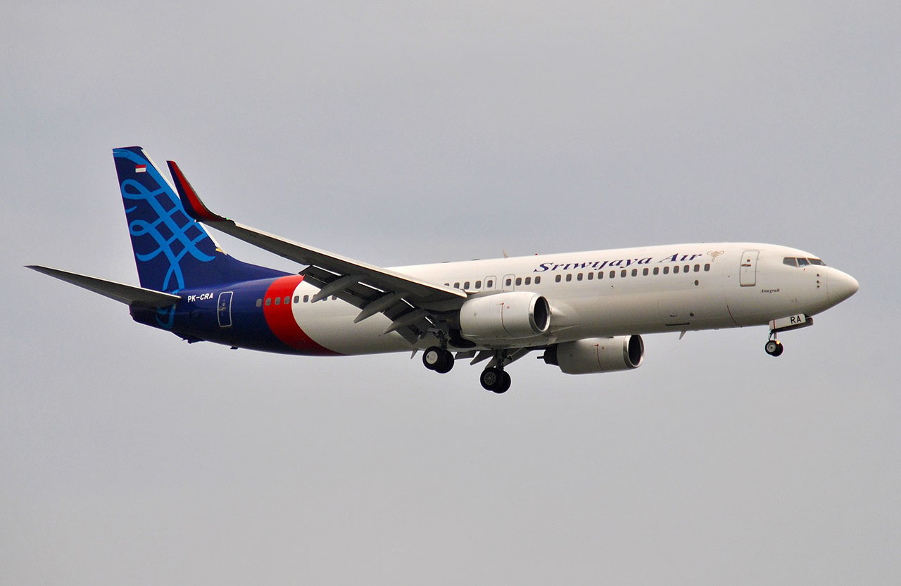 A Sriwijaya Airlines 737-800, similar to the plane that crashed on Saturday.