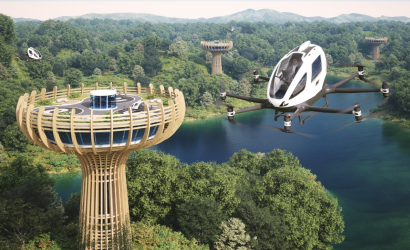 Another Futuristic Vision of an Urban Heliport/Air Taxi Stand