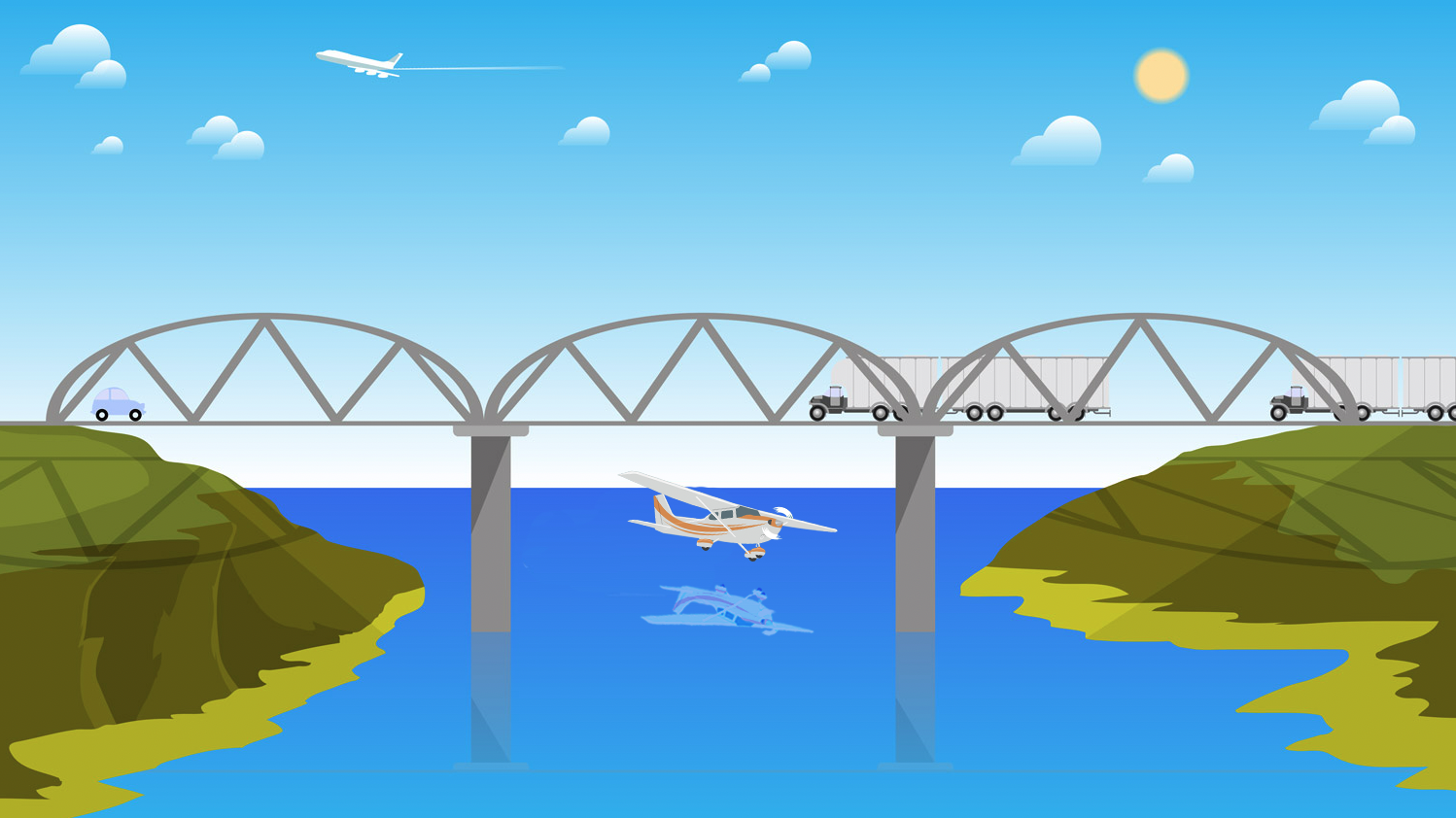 Flying under bridges