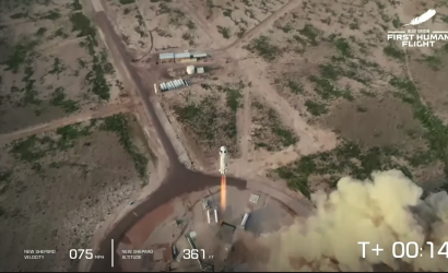 Jeff Bezos Blue Origin Spaceshot Picture Perfect!