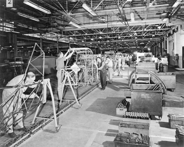 The Aeronca Aircraft factory floor.