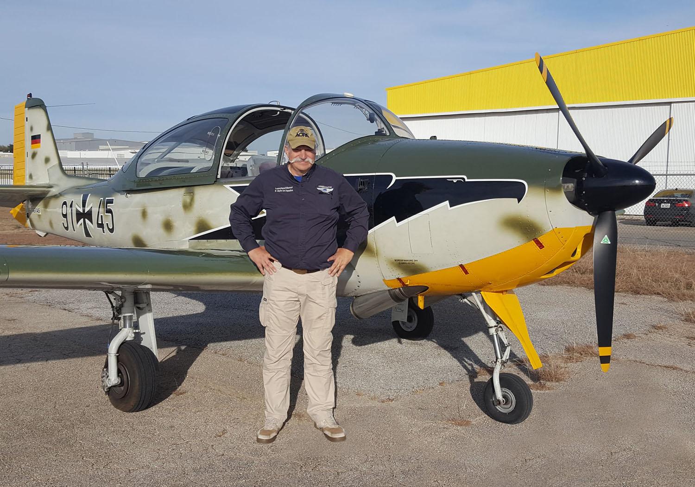 Brad Marzari with his Focke-Wulf FWP 149D