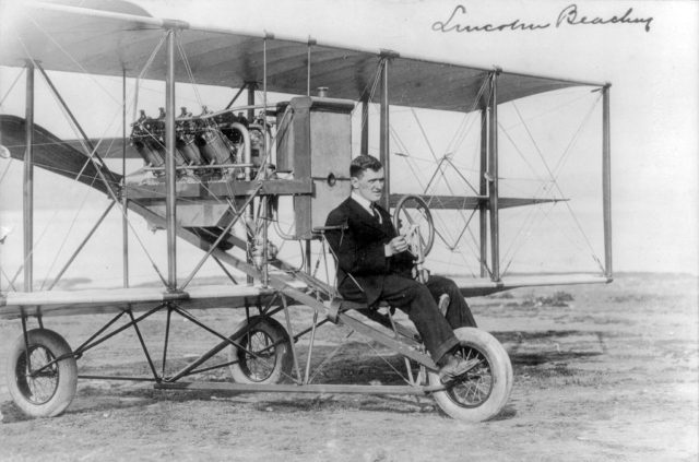 A Curtiss Pusher, flown here by famed pilot Lincoln Beachy