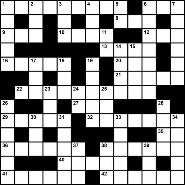 August 2021 Crossword Key