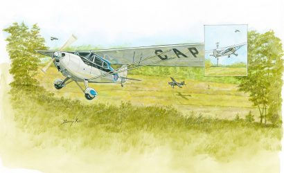 Taking Off In An Old Aeronca Chief On A Short Grass Strip With Tall Tree All Around