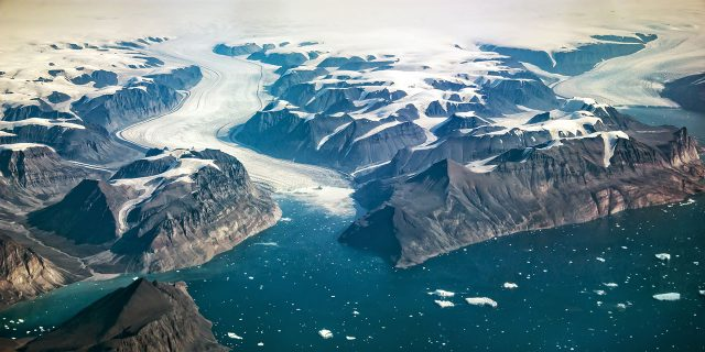 Aerial view of the coast of Greenland.